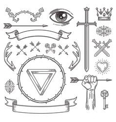 Tattoo style line art heraldic elements vector