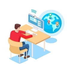 The guy communicates online on the computer vector image