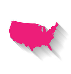 united states of america usa pink map silhouette vector image