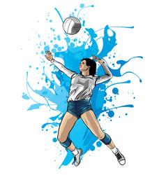 Volleyball sport girl and ball cartoon vector