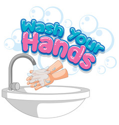 Wash your hands poster design with hands being vector