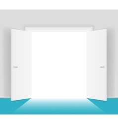 White open doors isolated vector image