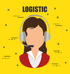 woman with headset logistic service vector image