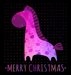 CHRISTMAS card with colorful horse vector image vector image