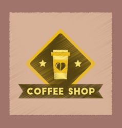 flat shading style icon coffee shop logo vector image