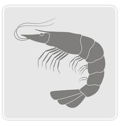 monochrome icon with prawn vector image