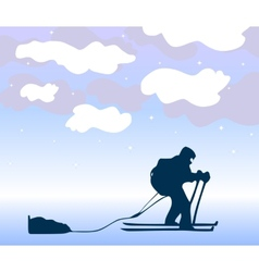 Sportsman the skier goes on a grief background vector image