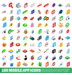 100 mobile app icons set isometric 3d style vector image vector image