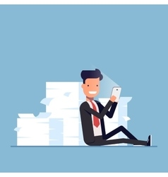 Businessman or manager sits behind a pile of vector image vector image