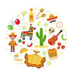 cinco de mayo celebration in mexico icons set in vector image