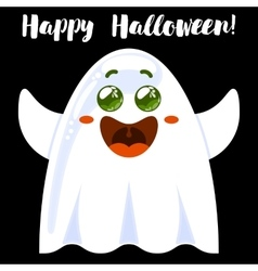 Halloween funny cartoon ghost vector image