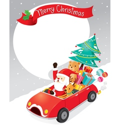Santa claus driving car with reindeer vector