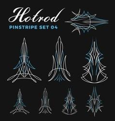 Set of vintage pin striping line art vector image