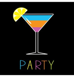 Colorful cocktail in martini glass Party Card vector image
