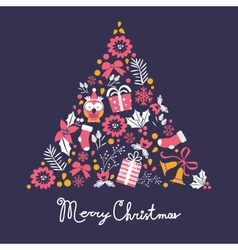 Colorful merry christmas tree shape with holiday vector