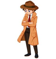 detective wearing brown overcoat and hat vector image vector image