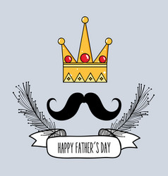 father day card with mustache and ribbon design vector image vector image