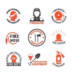 Firefighting label set vector image vector image