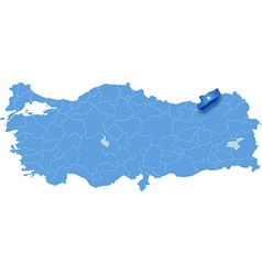 Map of Turkey Rize vector image vector image