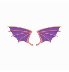 Violet dragon wings icon cartoon style vector image