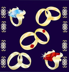 assortment of precious rings vector image vector image