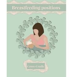 Breastfeed position Cross-Cradle vector image vector image
