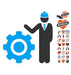 engineer with gear icon with valentine bonus vector image