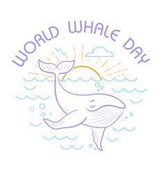 greeting cardworld whale day vector image vector image