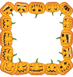 Halloween frame with pumpkins vector image vector image