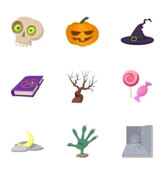 Halloween icons set cartoon style vector image vector image