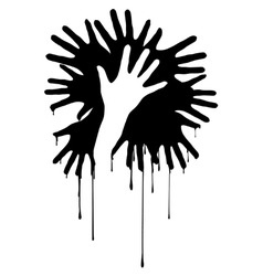 hands silhouette vector image