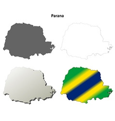 Parana blank outline map set vector image vector image
