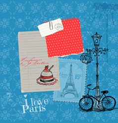 Paris Vintage Card with Stamps vector image