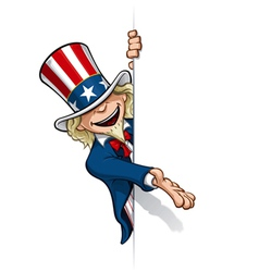 Uncle sam presenting a banner vector