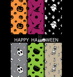 10 different halloween seamless patterns vector