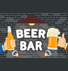a bottle of beer and a glass in his hands vector image