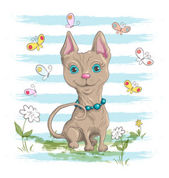 a cute little cat with flowers and vector image