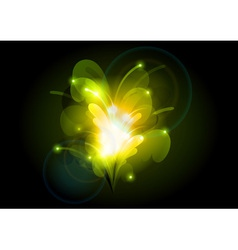 abstract flower orange green vector image