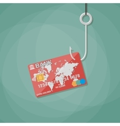 bank card on fishing hook vector image
