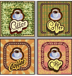 banner card coffee on brown background retro vector image