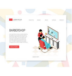Barber isometric web banner vector