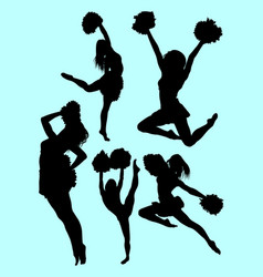 beautiful dancer cheerleader silhouette vector image