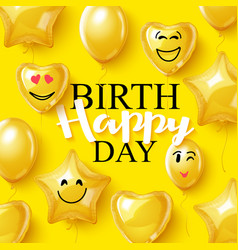 birthday background smiling face helium vector image