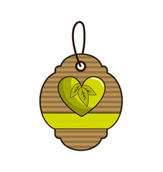 brown label with heart with leaves and ribbon vector image