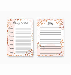 Bundle weekly planner and notes page templates vector