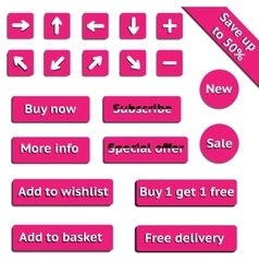 Buy web pink buttons for website or app vector image