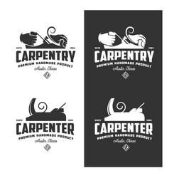 carpentry vintage labels set vector image