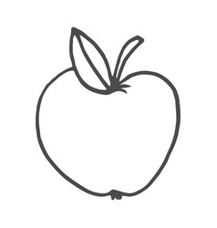 cartoon doodle apple isolated vector image