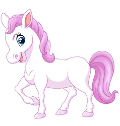 Cartoon happy pony horse isolated vector