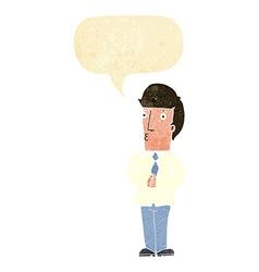 Cartoon nervous man with speech bubble vector